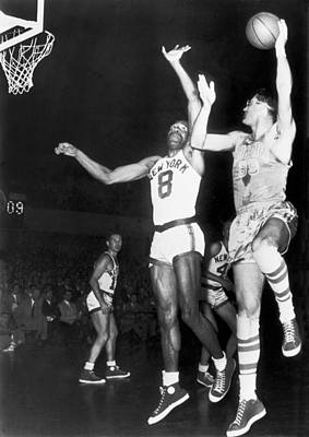 George Mikan Hook Shot Print by Underwood Archives