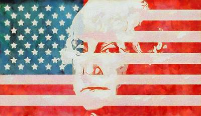 Fourth Of July Mixed Media - George Washington American Flag by Dan Sproul