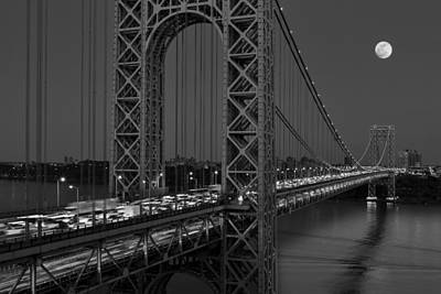 George Washington Bridge Moon Rise Bw Print by Susan Candelario