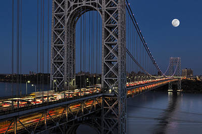 Little Red River Photograph - George Washington Bridge Moon Rise by Susan Candelario