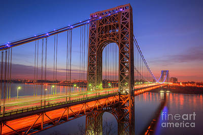 Autism Photograph - George Washington Bridge Morning Twilight I by Clarence Holmes