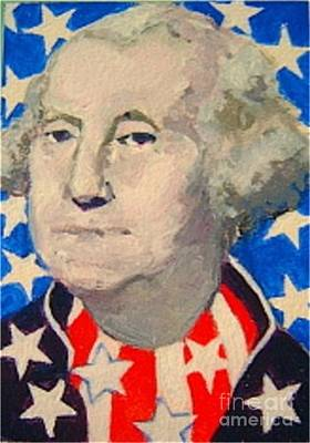 Independence Day Painting - George Washington In Stars And Stripes by Diane Ursin