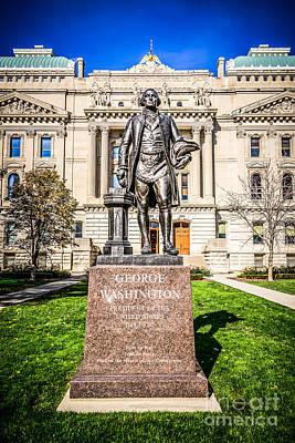 George Washington Photograph - George Washington Statue Indianapolis Indiana Statehouse by Paul Velgos