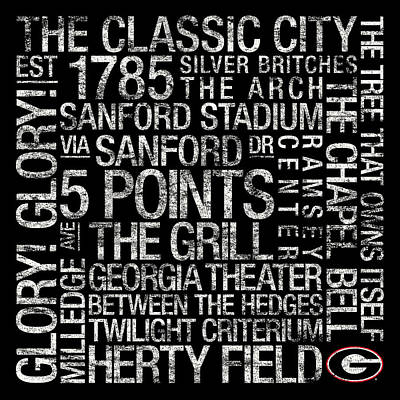 Georgia College Colors Subway Art Print by Replay Photos