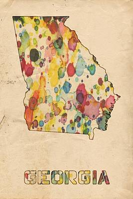 Watercolor Map Painting - Georgia Map Vintage Watercolor by Florian Rodarte