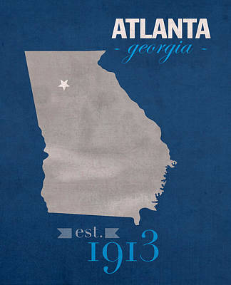 Georgia State University Panthers Atlanta College Town State Map Poster Series No 042 Print by Design Turnpike