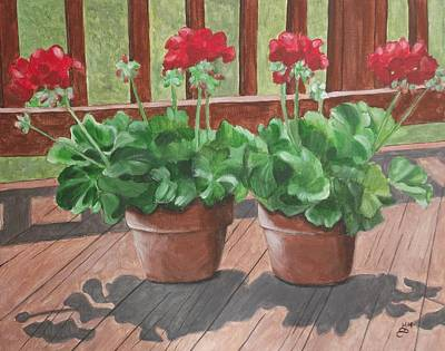 Geraniums For My Deck Print by Kim Selig