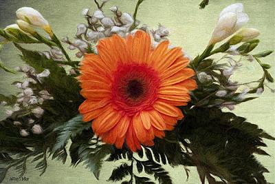 Orange Painting - Gerbera Daisy by Jeff Kolker