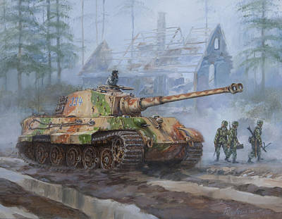 Wehrmacht Painting - German King Tiger Tank In The Battle Of The Bulge by Philip Arena