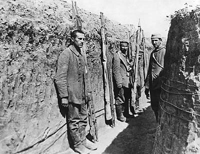 Trenches Photograph - German Pows With Stretchers by Underwood Archives