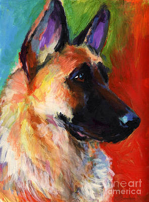 Impressionistic Dog Art Drawing - German Shepherd Dog Portrait by Svetlana Novikova