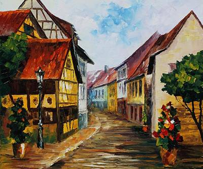 German Town - Palette Knife Oil Painting On Canvas By Leonid Afremov Original by Leonid Afremov