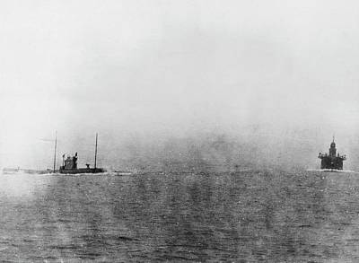 German U-boat Chasing Merchant Ship Print by Library Of Congress