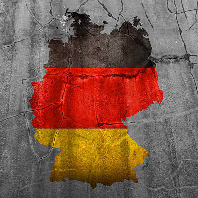 Germany Flag Country Outline Painted On Old Cracked Cement Print by Design Turnpike