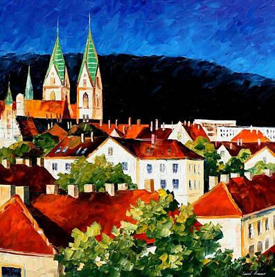 Germany-freiburg - Palette Knife Oil Painting On Canvas By Leonid Afremov Original by Leonid Afremov