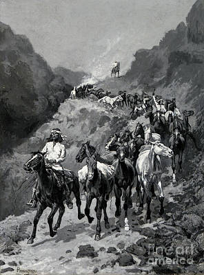Native American Drawing - Geronimo And His Band Returning From A Raid Into Mexico by Frederic Remington