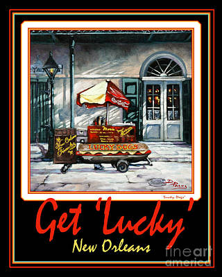 Lucky Dogs Painting - Get ' Lucky ' -  New Orleans by Dianne Parks