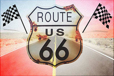 Kicking Digital Art - Get Your Kicks On Route 66 by Bill Cannon