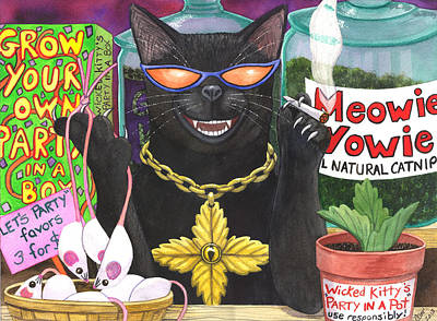 Wicked Kitty Painting - Get Your Nip On by Catherine G McElroy