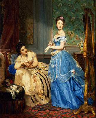 Getting Dressed, 1869 Print by Charles Edouard Boutibonne