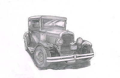 Street Rod Drawing - Getty Up-098 by Keith Spence