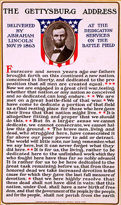 Gettysburg Address By Abraham Lincoln  Print by M T Sheahan