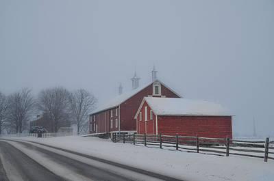 Pennsylvania Barns Digital Art - Gettysburg Farm In A Snow Storm by Bill Cannon