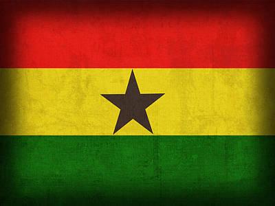 Ghana Mixed Media - Ghana Flag Distressed Vintage Finish by Design Turnpike