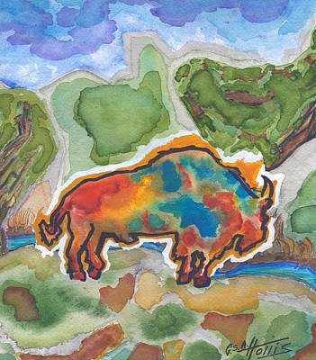 Painting - Ghost Buffalo At Wintersmith Park by Gayla Abel Hollis