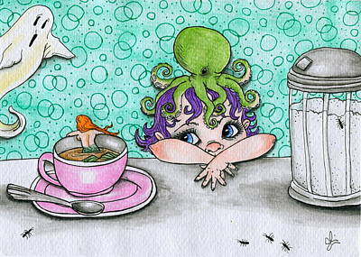 Ant Drawing - Ghost Cafe by Julie McDoniel