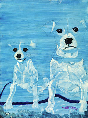 Abstact Realism Painting - Ghost Dogs by Terry Lewey