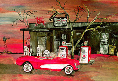 Famous Acrylic Landscape Painting - Ghost Of 66 by Mark Moore