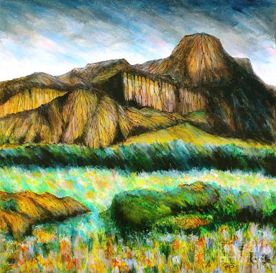 Keef Painting - Ghost Ranch Mountains New Mexico by Robert Birkenes