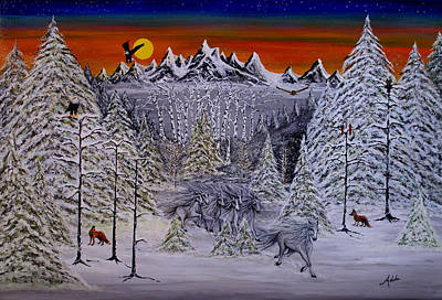 Winter Scene Painting - Ghost Riders by Adele Moscaritolo
