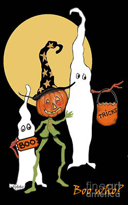 Halloween Card Painting - Ghost Sandwich by Carol Jacobs