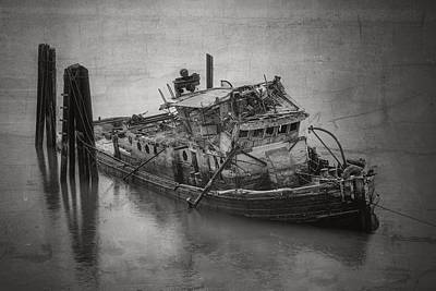 Ghost Steamer In Bw Print by Debra and Dave Vanderlaan