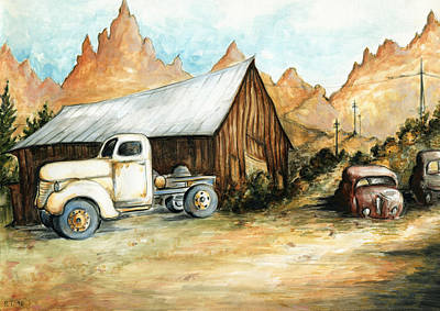 Ghost Towns Drawing - Ghost Town Nevada - Watercolor by Art America Online Gallery