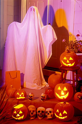 Ghost With Pumpkins Print by Garry Gay