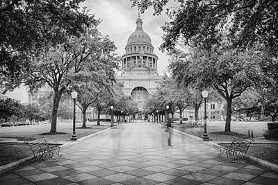 Golden Light Photograph - Ghosts Of The Texas State Capitol - Austin Texas Skyline by Silvio Ligutti