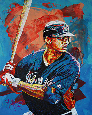 Major League Baseball Painting - Giancarlo Stanton by Maria Arango