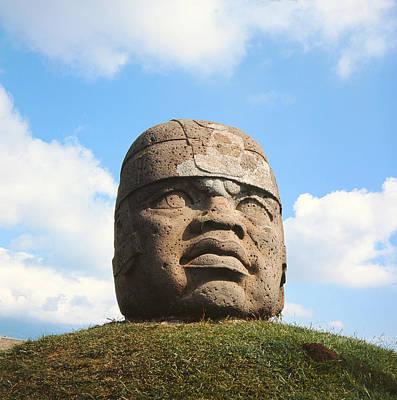 Precolumbian Photograph - Giant Head, Olmec Culture Stone by Pre-Columbian
