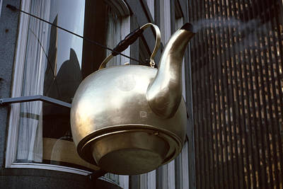 Giant Kettle Hanging From Building Print by Panoramic Images