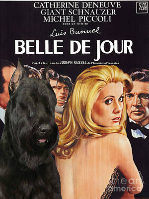 Giant Schnauzer Art Canvas Print - Belle De Jour Movie Poster Print by Sandra Sij