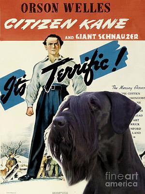 Giant Schnauzer Art Canvas Print - Citizen Kane Movie Poster Print by Sandra Sij