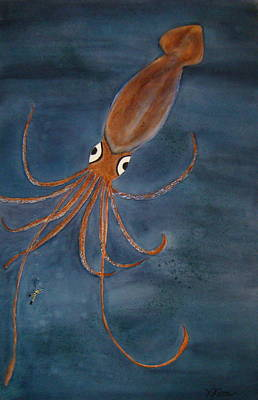 Giant Squid Painting - Giant Squid Fiction by Karen j Kobrin Cohen