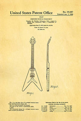 Electrical Engineer Photograph - Gibson Flying V Guitar Patent Art 1958 by Ian Monk
