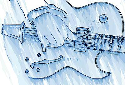 Gibson Guitar In Blue Print by Chris Berry