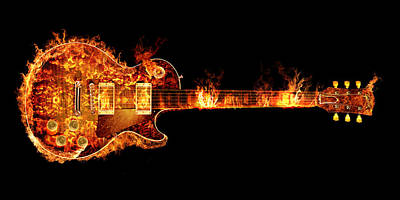 Jimmy Page Digital Art - Gibson Les Paul Guitar On Fire by Robert Gardiner