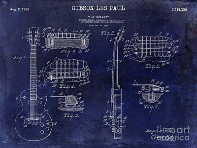 Les Photograph - Gibson Les Paul Patent Drawing Blue by Jon Neidert