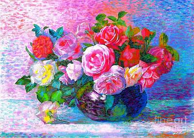 Multi Colored Painting - Gift Of Roses by Jane Small